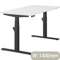 LEAP Electric Height Adjustable Rectangular Sit Stand Desk Plain Top W1400xD700xH620-1270mm White Top Black Frame. Prevents & Reduces Muscle & Back Problems, Heart Risks & Increases Brain Activity.