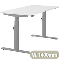 LEAP Electric Height Adjustable Rectangular Sit Stand Desk Plain Top W1400xD700xH620-1270mm White Top Silver Frame. Prevents & Reduces Muscle & Back Problems, Heart Risks & Increases Brain Activity.