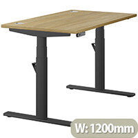 LEAP Electric Height Adjustable Rectangular Sit Stand Desk Portal Top W1200xD700xH620-1270mm Urban Oak Top Black Frame. Prevents & Reduces Muscle & Back Problems, Heart Risks & Increases Brain Activity.