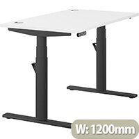 LEAP Electric Height Adjustable Rectangular Sit Stand Desk Portal Top W1200xD700xH620-1270mm White Top Black Frame. Prevents & Reduces Muscle & Back Problems, Heart Risks & Increases Brain Activity.