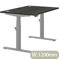 LEAP Electric Height Adjustable Rectangular Sit Stand Desk Portal Top W1200xD800xH620-1270mm Carbon Walnut Top Silver Frame. Prevents & Reduces Muscle & Back Problems, Heart Risks & Increases Brain Activity.