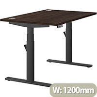 LEAP Electric Height Adjustable Rectangular Sit Stand Desk Portal Top W1200xD800xH620-1270mm Dark Walnut Top Black Frame. Prevents & Reduces Muscle & Back Problems, Heart Risks & Increases Brain Activity.