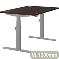 LEAP Electric Height Adjustable Rectangular Sit Stand Desk Portal Top W1200xD800xH620-1270mm Dark Walnut Top Silver Frame. Prevents & Reduces Muscle & Back Problems, Heart Risks & Increases Brain Activity.