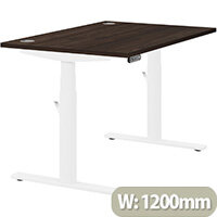 LEAP Electric Height Adjustable Rectangular Sit Stand Desk Portal Top W1200xD800xH620-1270mm Dark Walnut Top White Frame. Prevents & Reduces Muscle & Back Problems, Heart Risks & Increases Brain Activity.