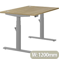 LEAP Electric Height Adjustable Rectangular Sit Stand Desk Portal Top W1200xD800xH620-1270mm Urban Oak Top Silver Frame. Prevents & Reduces Muscle & Back Problems, Heart Risks & Increases Brain Activity.