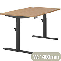 LEAP Electric Height Adjustable Rectangular Sit Stand Desk Portal Top W1400xD800xH620-1270mm Beech Top Black Frame. Prevents & Reduces Muscle & Back Problems, Heart Risks & Increases Brain Activity.