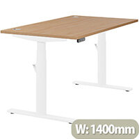 LEAP Electric Height Adjustable Rectangular Sit Stand Desk Portal Top W1400xD800xH620-1270mm Beech Top White Frame. Prevents & Reduces Muscle & Back Problems, Heart Risks & Increases Brain Activity.