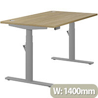 LEAP Electric Height Adjustable Rectangular Sit Stand Desk Portal Top W1400xD800xH620-1270mm Urban Oak Top Silver Frame. Prevents & Reduces Muscle & Back Problems, Heart Risks & Increases Brain Activity.