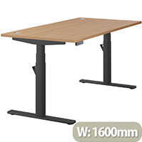 LEAP Electric Height Adjustable Rectangular Sit Stand Desk Portal Top W1600xD800xH620-1270mm Beech Top Black Frame. Prevents & Reduces Muscle & Back Problems, Heart Risks & Increases Brain Activity.