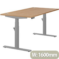 LEAP Electric Height Adjustable Rectangular Sit Stand Desk Portal Top W1600xD800xH620-1270mm Beech Top Silver Frame. Prevents & Reduces Muscle & Back Problems, Heart Risks & Increases Brain Activity.