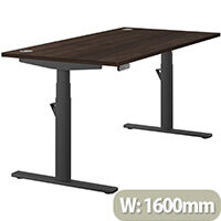 LEAP Electric Height Adjustable Rectangular Sit Stand Desk Portal Top W1600xD800xH620-1270mm Dark Walnut Top Black Frame. Prevents & Reduces Muscle & Back Problems, Heart Risks & Increases Brain Activity.