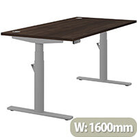 LEAP Electric Height Adjustable Rectangular Sit Stand Desk Portal Top W1600xD800xH620-1270mm Dark Walnut Top Silver Frame. Prevents & Reduces Muscle & Back Problems, Heart Risks & Increases Brain Activity.