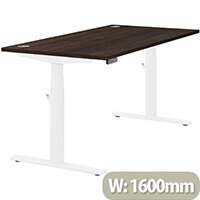 LEAP Electric Height Adjustable Rectangular Sit Stand Desk Portal Top W1600xD800xH620-1270mm Dark Walnut Top White Frame. Prevents & Reduces Muscle & Back Problems, Heart Risks & Increases Brain Activity.