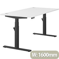 LEAP Electric Height Adjustable Rectangular Sit Stand Desk Portal Top W1600xD800xH620-1270mm White Top Black Frame. Prevents & Reduces Muscle & Back Problems, Heart Risks & Increases Brain Activity.