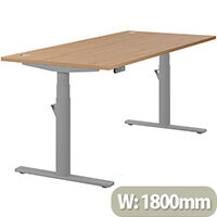 LEAP Electric Height Adjustable Rectangular Sit Stand Desk Portal Top W1800xD800xH620-1270mm Beech Top Silver Frame. Prevents & Reduces Muscle & Back Problems, Heart Risks & Increases Brain Activity.