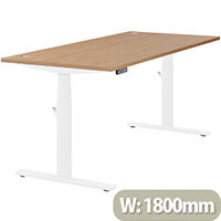 LEAP Electric Height Adjustable Rectangular Sit Stand Desk Portal Top W1800xD800xH620-1270mm Beech Top White Frame. Prevents & Reduces Muscle & Back Problems, Heart Risks & Increases Brain Activity.