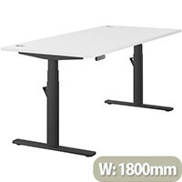 LEAP Electric Height Adjustable Rectangular Sit Stand Desk Portal Top W1800xD800xH620-1270mm White Top Black Frame. Prevents & Reduces Muscle & Back Problems, Heart Risks & Increases Brain Activity.