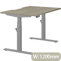 LEAP Electric Height Adjustable Rectangular Sit Stand Desk Scallop Top W1200xD800xH620-1270mm Arctic Oak Top Silver Frame. Prevents & Reduces Muscle & Back Problems, Heart Risks & Increases Brain Activity.