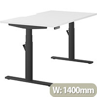LEAP Electric Height Adjustable Rectangular Sit Stand Desk Scallop Top W1400xD800xH620-1270mm White Top Black Frame. Prevents & Reduces Muscle & Back Problems, Heart Risks & Increases Brain Activity.