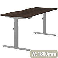 LEAP Electric Height Adjustable Rectangular Sit Stand Desk Scallop Top W1800xD700xH620-1270mm Dark Walnut Top Silver Frame. Prevents & Reduces Muscle & Back Problems, Heart Risks & Increases Brain Activity.