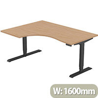 LEAP Electric Height Adjustable Radial Left Hand Sit Stand Desk Plain Top W1600xD1200/800xH620-1270mm Beech Top Black Frame. Prevents & Reduces Muscle & Back Problems, Heart Risks & Increases Brain Activity.