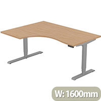 LEAP Electric Height Adjustable Radial Left Hand Sit Stand Desk Plain Top W1600xD1200/800xH620-1270mm Beech Top Silver Frame. Prevents & Reduces Muscle & Back Problems, Heart Risks & Increases Brain Activity.