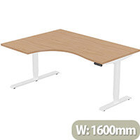LEAP Electric Height Adjustable Radial Left Hand Sit Stand Desk Plain Top W1600xD1200/800xH620-1270mm Beech Top White Frame. Prevents & Reduces Muscle & Back Problems, Heart Risks & Increases Brain Activity.