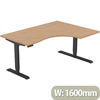 LEAP Electric Height Adjustable Radial Right Hand Sit Stand Desk Plain Top W1600xD1200/800xH620-1270mm Beech Top Black Frame. Prevents & Reduces Muscle & Back Problems, Heart Risks & Increases Brain Activity.