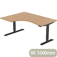 LEAP Electric Height Adjustable Radial Left Hand Sit Stand Desk Portal Top W1600xD1200/800xH620-1270mm Beech Top Black Frame. Prevents & Reduces Muscle & Back Problems, Heart Risks & Increases Brain Activity.