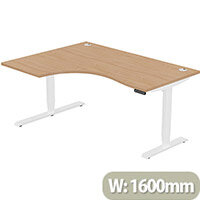 LEAP Electric Height Adjustable Radial Left Hand Sit Stand Desk Portal Top W1600xD1200/800xH620-1270mm Beech Top White Frame. Prevents & Reduces Muscle & Back Problems, Heart Risks & Increases Brain Activity.