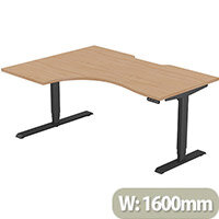 LEAP Electric Height Adjustable Radial Left Hand Sit Stand Desk Scallop Top W1600xD1200/800xH620-1270mm Beech Top Black Frame. Prevents & Reduces Muscle & Back Problems, Heart Risks & Increases Brain Activity.