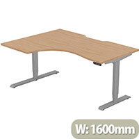 LEAP Electric Height Adjustable Radial Left Hand Sit Stand Desk Scallop Top W1600xD1200/800xH620-1270mm Beech Top Silver Frame. Prevents & Reduces Muscle & Back Problems, Heart Risks & Increases Brain Activity.