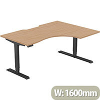 LEAP Electric Height Adjustable Radial Right Hand Sit Stand Desk Scallop Top W1600xD1200/800xH620-1270mm Beech Top Black Frame. Prevents & Reduces Muscle & Back Problems, Heart Risks & Increases Brain Activity.