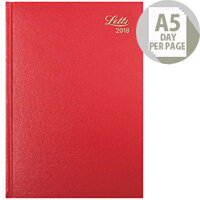 Letts 11X A5 Day/Page Diary Red 2018 18-T11XRD