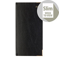 Letts 35S Business Slim Week to View Landscape Diary Black 2020 20-T35SBK