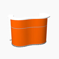 Wave Modern Design Curved Reception Desk with White Counter Top & High Gloss Orange Front W1624xD841xH1103mm