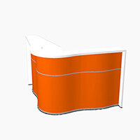 Wave Modern Design Small Curved Reception Desk with White Counter Top & High Gloss Orange Front W1590xD1590xH1103mm