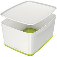 Leitz MyBox Large Storage Box With Lid White/Green 52161064
