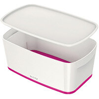Leitz MyBox Small Storage Box With Lid White/Pink 52291023