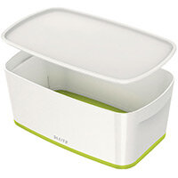 Leitz MyBox Small Storage Box With Lid White/Green 52291064