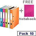 Leitz Wow Lever Arch File A4 50mm Assorted Pack of 10 With FOC A4 Notebook Pink
