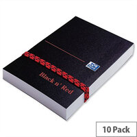 Black n Red 105x74mm Unruled Polynote Book Casebound 192 Pages Pack 10