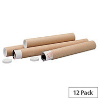Brown Kraft 610x76mm Cardboard Postal Tubes Pack of 12