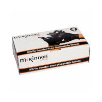 McKinnon Black Nitrile SMALL Disposable Gloves Powder-Free (100) Box MB100S