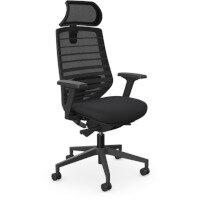 X.77 Office Operator Chair with Adjustable Lumbar Support & Headrest Black Frame & Seat