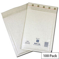 Mail Lite Bubble Lined Size B/00 120x210mm White Postal Bags Pack of 100