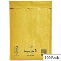 Mail Lite Bubble Lined Size D/1 180x260mm Gold Postal Bags Pack of 100