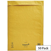 Mail Lite Bubble Lined Size J/6 300x440mm Gold Postal Bags Pack of 50