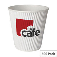 Mycafe 12oz/350ml Ripple Wall Hot Drinks Disposable Paper Cups (500 Pack)