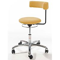 Saturn Ergonomic Stool With 360° Swivel Back-Arm Rest Imitation Leather Orange H490 - 680mm